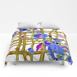 BLUE MORNING GLORIES THORN LATTICE DESIGN Comforters