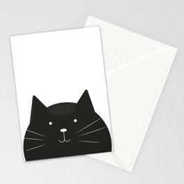 Cute cartoon black cat Stationery Cards