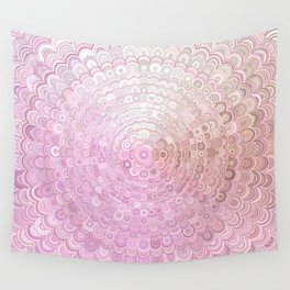 Pink and White Flower Mandala Wall Tapestry