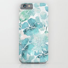 Blue green watercolor flower pattern iPhone Case