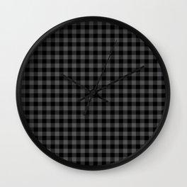Original Tincup Grey and Black Rustic Cowboy Cabin Buffalo Check Wall Clock