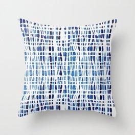 Shibori Braid Vivid Indigo Blue and White Throw Pillow