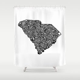 Typographic South Carolina Shower Curtain