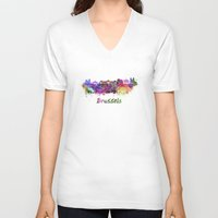 brussels V-neck T-shirts featuring Brussels skyline in watercolor by Paulrommer