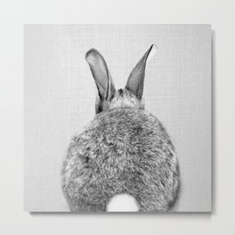 Rabbit Tail - Black & White Metal Print