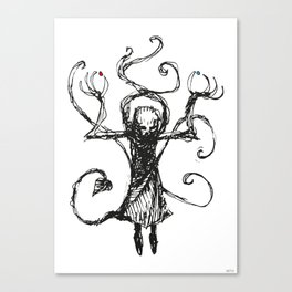 Evil Priest with two pills Canvas Print