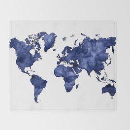 Dark navy blue watercolor world map Throw Blanket