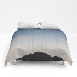 Crescent Moon Above Mountian Peak Comforters
