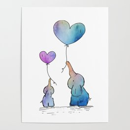 Colorful Watercolor Elephants Love Poster