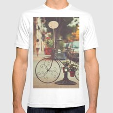The bike with the flowers MEDIUM White Mens Fitted Tee