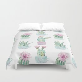 Simply Echeveria Cactus in Pastel Cactus Green and Pink Duvet Cover