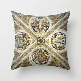 "Raffaello Sanzio da Urbino ""Ceiling of the Stanza della Segnatura"", 1508-1511 Throw Pillow"
