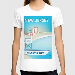 Atlantic City, New Jersey - Skyline Illustration by Loose Petals T-shirt