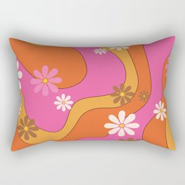 Groovy 60's and 70's Flower Power Pattern Rectangular Pillow