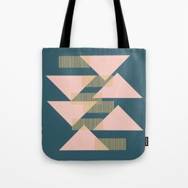 Modern Lines and Triangles Design in Blush, Teal, and gold Tote Bag