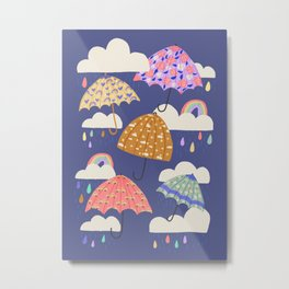Rainy Day on Blue Metal Print