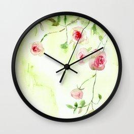 Misty morning roses Wall Clock