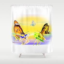 SunsetandButterflies Shower Curtain