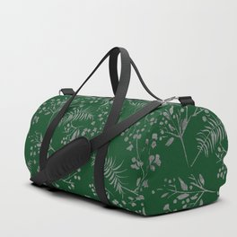 Forest green country chic faux silver floral leaves Duffle Bag