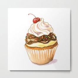 Banana split cupcake watercolor illustration Metal Print