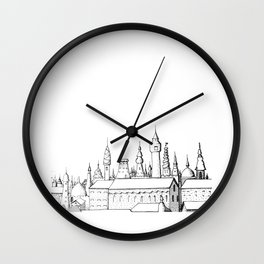 fabulous city . art . black and white Wall Clock