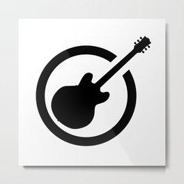 Black Ink Stamp Semi Guitar Metal Print