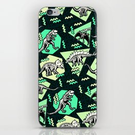 90's Dinosaur Skeleton Neon Pattern iPhone Skin