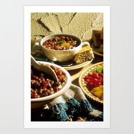 Chili with Cornbread  Art Print