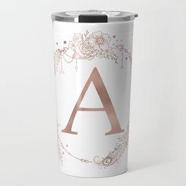 Letter A Rose Gold Pink Initial Monogram Travel Mug