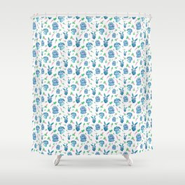 Blue Bunny Pattern Shower Curtain