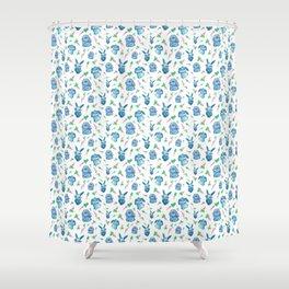 Blue Bunny Pattern Shower Curtain