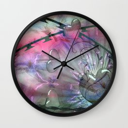 Floral Grunge Abstract Wall Clock