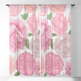 Artistic Peony Romantic Pattern Sheer Curtain