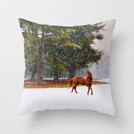 Winter in Horse Country Throw Pillow