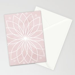 Mandala on Pink Watercolor Background Stationery Cards