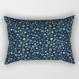 Festive Blue Snowflake Pattern Rectangular Pillow