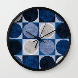 Full Moons in Blue Wall Clock