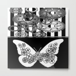 BLACK & WHITE CLOCKWORK BUTTERFLY ABSTRACT ART Metal Print