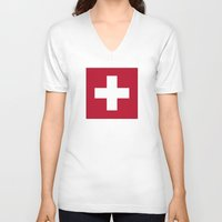 switzerland V-neck T-shirts featuring Switzerland Flag  by Laura Ruth