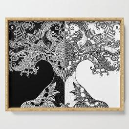 Unity of Halves - Life Tree - Rebirth - Black White Serving Tray