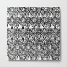 Tiled Black White And Grey Leaf Vein Pattern Metal Print