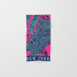New York Neon City Map, New York Minimalist City Map Hand & Bath Towel