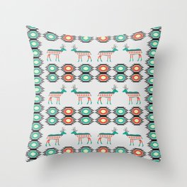 Festive deer pattern Throw Pillow