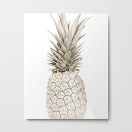 Minimalist White Gold Painted Pineapple Metal Print
