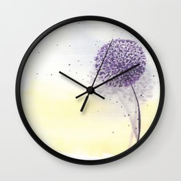 Purple dandelion in watercolor Wall Clock