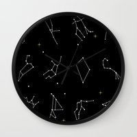 astrology Wall Clocks featuring Astrology by Elysia Oquist Design
