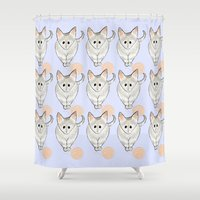 kittens Shower Curtains featuring Pastel Kittens by Emily Rose Thomson