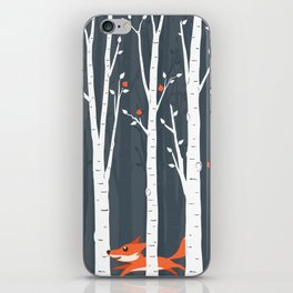 Fox running in the forest iPhone Skin