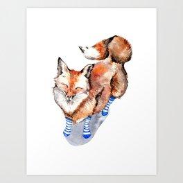 Smiling Red Fox in Blue Socks Art Print