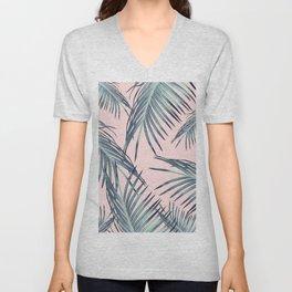 Blush Palm Leaves Dream #1 #tropical #decor #art #society6 Unisex V-Neck